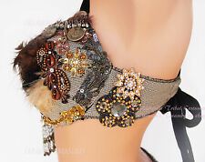 Feathers and Fringe Belly Dance Bra and Belt SET Steampunk Tribal Fusion