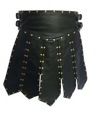 Mens Sexy Real Black Cow Leather Heavy Duty Gladiator Pleated Kilt LARP - K6
