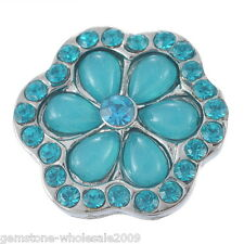 Wholesale Lots Snap Button Rhinestone Blue Flower Fit Bracelet Necklace DIY