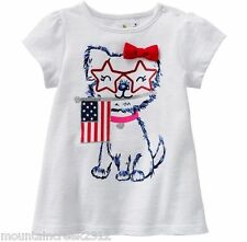 JUMPING BEANS Girls Shirt Size 6 months Patriotic PUPPY 4th of July Tee Top NEW