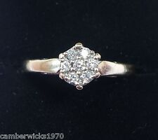 18ct White Gold Diamond Daisy Cluster Ring, Size R