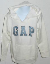 GAP KIDS Girl's White Blue Satin Logo Hoodie Sweatshirt Size XS (4-5)