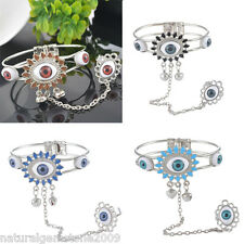 Women Fashion Silver Plated Evil Eye Ring Bracelet Personality Design Gift