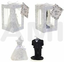 BRIDE & GROOM WEDDING CANDLES TABLE DECORATION ORNAMENTAL WEDDING FAVOURS