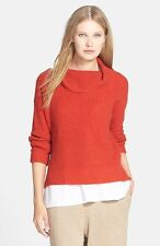 NWT Eileen Fisher Funnel Cowl Neck Box Top Sweater Yak Merino Wool Red $298 – PM