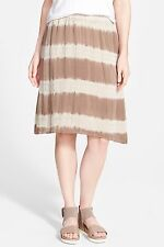 NWT Eileen Fisher Lantern Skirt Mocha Shibori Striped Silk $218 – S, M, L, XL
