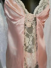 Satin & Lace Princess Baby Doll Chemise Negliee & Thong Pink & Blue to suit 8-12