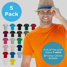5 PACK Fruit of the Loom t shirts tee valueweight FOTL mens womens cheap shirt