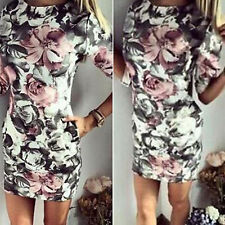 Sexy Womens Ladies Bodycon Summer Casual Party Mini Dress Club Floral Dressses