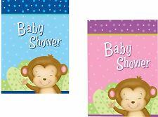8 x Blue Pink Boy Girl Monkey Design Baby Shower Party Invitations & Envelopes