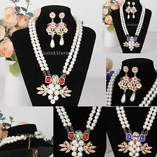 Faux Pearls Flowers Crystal Rhinestone Pendant Wedding Necklace Jewelry Sets