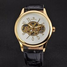 Fashion Mechanical Hand Wind Leather Band Men Sport Analog Wrist Watch Gift New