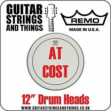 """Remo 12"""" Drum Heads AT COST Clear Coated Ebony Ambassador Emperor Pinstripe"""