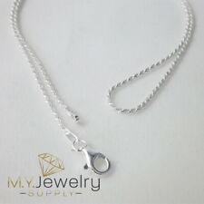 "925 Sterling Silver Diamond Cut Rope Chain Necklace 1.2mm 16"" 18"" 20"" 24"" 30"""