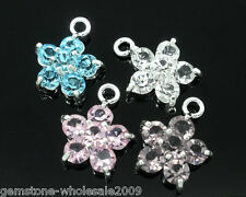Wholesale W09 Mixed SP Rhinestone Flower Charm Pendants 15x12mm