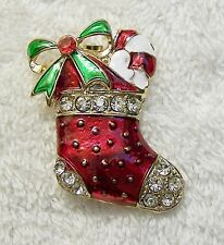 CLASSIC CHRISTMAS PIN BROOCH STOCKING CHEER SLEIGH BELL PRESENTS GIFTS BOW CH-4