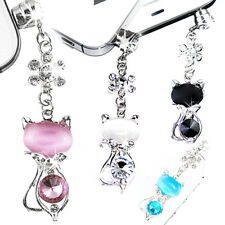 3.5mm Jack Cat Crystal Dust Plug Cap Stopper Anti Earphone For Samsung iPhone 6