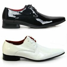 Mens New Lace Up Patent Formal Pointed Toe Wedding Shoes Genuine Leather Lining