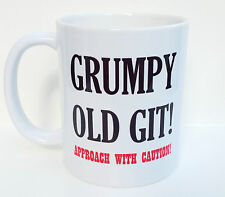 Personalised Fathers Day Mug - Grumpy Old Git, Approach With Caution Design.