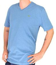 NWT MEN'S LACOSTE PIMA JERSEY V-NECK T-SHIRT, STRATUS CHINE (BLUE), SIZE: S-3XL