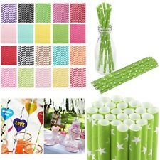 25/50/100PCS Biodegradable Striped Paper Drinking Straws Wedding Birthday Party#