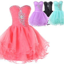Teens BEADED Short Formal Cocktail Prom Ball Gown Evening Party Bridesmaid Dress