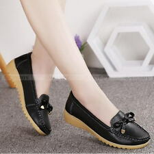 Fashion Women Lady Leather Single Shoes Boat Shoes Slip On Loafers Flats Shoes