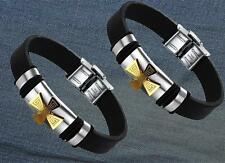 Stainless Steel Gold/Black Cross silicone Rubber Women Men Bracelet Silicone XW