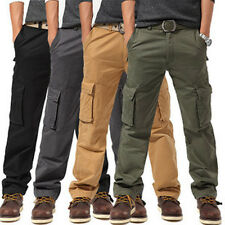 Mens Casual cotton Combat Military multi pocket Cargo Pants Trousers size 28-38