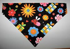 Lady Bugs & Flowers Dog Bandana Scarf-Slide over Collar-Size Small to Large
