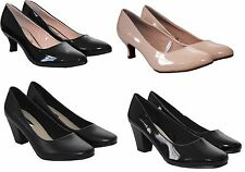 Ladies Womens Mid heel wide fit work office party casual formal court shoes 3-8