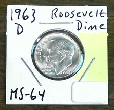 1963-D Roosevelt Dime~Gem Brilliant Uncirculated, Blast White Luster, Nice Torch