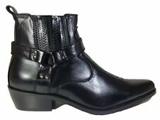 Men's Black Synthetic Leather Western Cowboy Boots Buckle Ankle High Cheap New