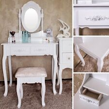White Dressing Make Up Table With Stool Vanity Mirror Drawers Classic Style
