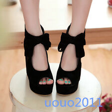 New Womens Platform Open Toe Wedge Heels Hollow Out Bowknot Faux Suede Shoes Sz