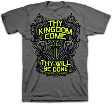 Thy Kingdom Come Thy Will Be Done Cross Christian Kerusso Men's Gray T-Shirt