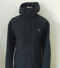FRED PERRY MEN'S CLASSIC BLACK FLEECE LINED HOODED COAT SIZE L/XL  *VGC*