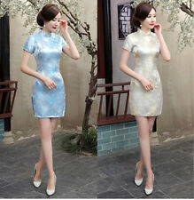 Sexy Chinese Women Silk Satin Mini Qipao Evening Dress Cheong-sam S - 6XL