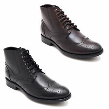Lucini Mens Leather Lace-Up Pointed Brogue Boots Black & Brown
