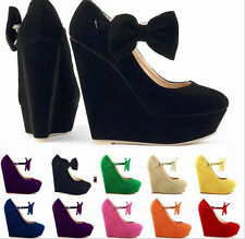 Womens Wedges Platform Round Toe Buckle Faux Suede Bowknot Prom High Heels Shoes