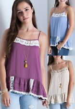 Entro Lace Trim Cami Tank Top Ruffle Hem Tiered Sleeveless Bohemian Boho T2767