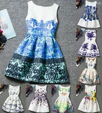 Girl Kid Korea Style Vintage Flowers Princess Sleeveless Party Formal Gown Dress