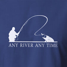 New Fishing Tshirt Any River Any Time fly fishing rod combo clamp reel flies box