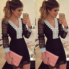 UK Sexy Womens Evening Party Bodycon Dress Ladies Lace Cocktail Dress Size 6-14