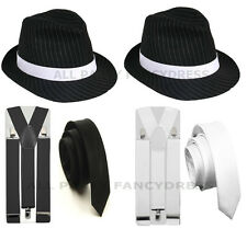 1920'S PINSTRIPE GANGSTER HAT TIE BRACES TRILBY FEDORA PARTY FANCY DRESS COSTUME