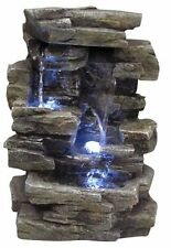 3 Tier LED Rock Garden WATER FOUNTAIN Waterfall STONE Outdoor Indoor Tabletop