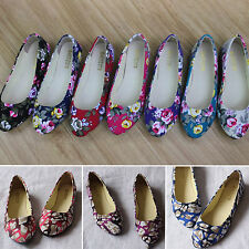 Womens Ballerina Ballet Dolly Pumps Ladies Flower Flat Loafers Single Boat Shoes