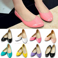 Women's Ballerina Ballet Flat Loafers Casual Patent Leather Slip On Pumps Shoes