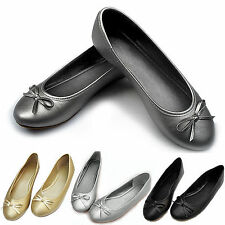 Ladies Womens Bow Flat Designer Loafers Dolly Ballet Ballerina Work Pumps Shoes
