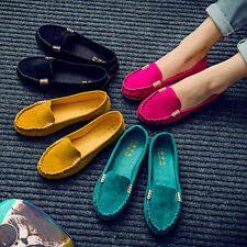 Womens Moccasin Suede Slip On Flat Loafers Ladies Casual Ballerina Ballet Shoes